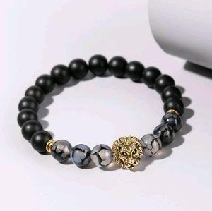 👑Gold Lions Head Beaded Stretch Bracelet 👑